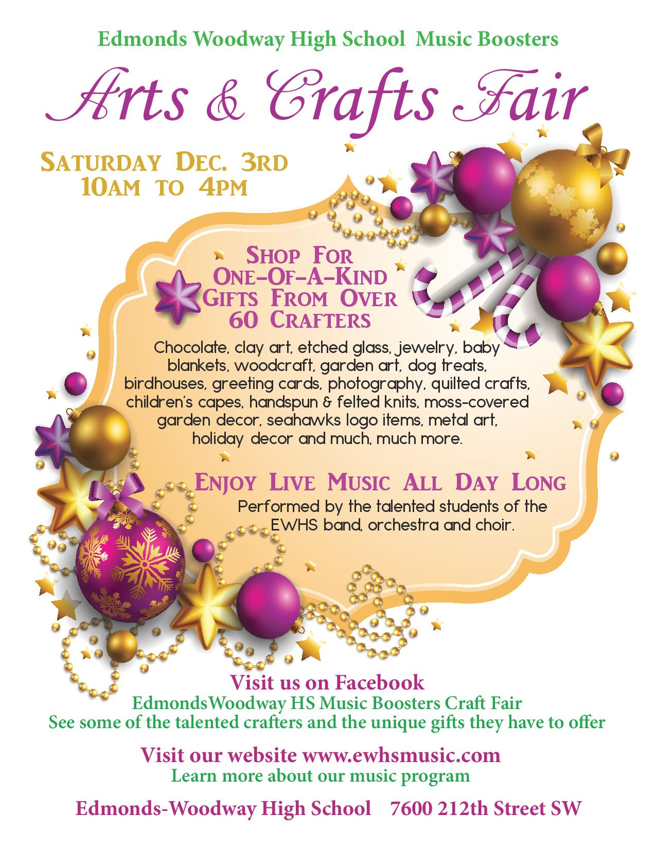 Support M(EW)sicians at the Music Boosters Crafts Fair Dec. 3rd!