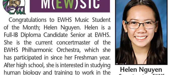 Helen Nguyen Named EWHS Music Student of the Month