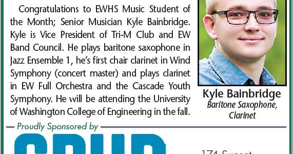 Kyle Bainbridge named newest EWHS Music Student of the Month!