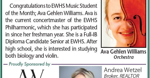 EWHS Music Student of the Month: Ava Gehlen Williams